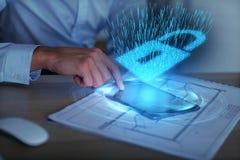 Het concept van de Cyberbescherming Stock Foto