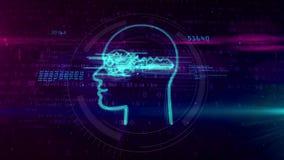 Het concept van de Cyberprivacy met sleutel in hoofdanimatie stock illustratie