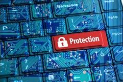 Het concept van de Cyberveiligheid met abstract computertoetsenbord Royalty-vrije Stock Foto's