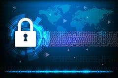 Het concept van de Cyberveiligheid met abstracte technologieachtergrond royalty-vrije stock afbeeldingen