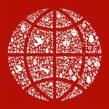 Het concept van de de bolkaart van Kerstmis Royalty-vrije Stock Afbeeldingen
