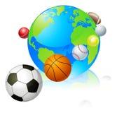 Het concept van de de bolwereld van sporten Stock Foto