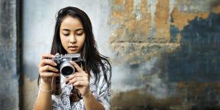 Het Concept van de de Hobbyrecreatie van fotograaftravel sightseeing wander Royalty-vrije Stock Afbeelding