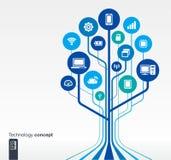Het concept van de de kringstechnologie van de de groeiboom Stock Afbeelding