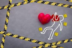 Het concept van de de misdaadscène van het liefdeslachtoffer Stock Afbeeldingen