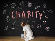 Het Concept van de de Schenkingsvoorlichting van de liefdadigheidshulp stock foto