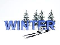 Het concept van de de wintervakantie op witte achtergrond Stock Afbeeldingen