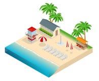 Het concept van de de zomerreis Op de strand vlak 3d isometrische vectorillustratie Royalty-vrije Stock Foto's