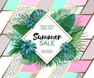 Het Concept van de de zomerverkoop De zomerachtergrond met tropische bloemen Malplaatjevector Royalty-vrije Stock Foto