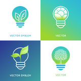 Het concept van de Ecoenergie - gloeilampenpictogrammen met groene bladeren Stock Foto's