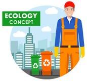 Het concept van de ecologie Gedetailleerde illustratie van de huisvuilmens in eenvormig en dumpsters op moderne cityscape achterg vector illustratie