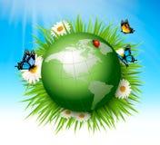 Het concept van de ecologie Groen Bol en Gras met Bloemen royalty-vrije illustratie