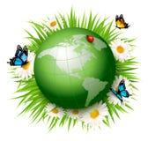 Het concept van de ecologie Groen Bol en Gras met Bloemen vector illustratie