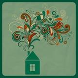 Het concept van de ecologie met plattelandshuisje vector illustratie
