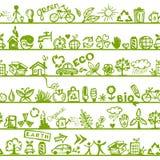 Het concept van de ecologie. Naadloos patroon voor uw ontwerp Stock Afbeelding