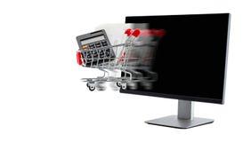 Het concept van de elektronische handel computer met zich boodschappenwagentje het bewegen Stock Fotografie