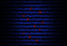 Het concept van de encryptie - rode gedecrypteerde brieven vector illustratie