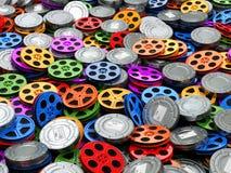 Het concept van de filmsinzameling Bioskoop, film, videospoelenachtergrond Royalty-vrije Stock Fotografie
