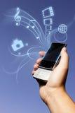 Het concept van de foto de telefoon van verschillende media Stock Fotografie