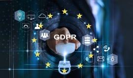 Het concept van de gegevensbeschermingprivacy GDPR De EU Abstracte achtergrond met slot en regeling royalty-vrije stock afbeeldingen