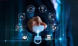 Het concept van de gegevensbeschermingprivacy GDPR De EU Abstracte achtergrond met slot en regeling stock foto