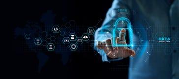 Het concept van de gegevensbeschermingprivacy GDPR De EU Het netwerk van de Cyberveiligheid stock foto's