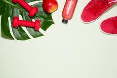 Het concept van de geschiktheid Tennisschoenen, appel, domoor en vruchtensap bottl Stock Fotografie