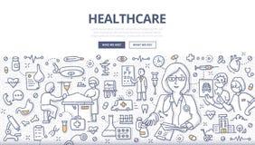 Het Concept van de gezondheidszorgkrabbel vector illustratie