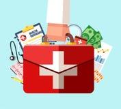 Het concept van de gezondheidszorgverzekering Eerste hulpuitrusting in artsenhand Vectorillustratie in vlak ontwerp royalty-vrije illustratie