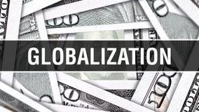 Het Concept van de globaliseringsclose-up Het Amerikaanse Geld van het Dollarscontante geld, het 3D teruggeven Globalisering bij  royalty-vrije illustratie