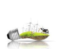Het concept van de gloeilampen Alternatieve energie Stock Afbeelding