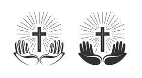 Het concept van de godsdienst Boek en kruis De bijbel, kerk, geloof, bidt pictogram of symbool Vector illustratie royalty-vrije illustratie