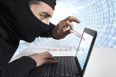 Het concept van de hakker en van het virus Stock Foto's