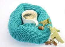 Het concept van de herfst Geïsoleerd Gebreide turkooise sjaal, kop van koffie, eikels Stock Foto