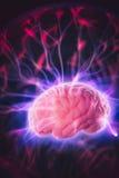Het concept van de hersenenmacht met abstracte lichte stralen Stock Afbeelding
