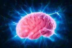 Het concept van de hersenenmacht met abstracte lichte stralen Stock Foto's