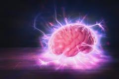 Het concept van de hersenenmacht met abstracte lichte stralen Royalty-vrije Stock Afbeeldingen