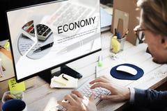 Het Concept van de het Geldinvestering van de economiehandel Royalty-vrije Stock Afbeelding