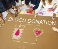 Het Concept van de het Hartzorg van de bloeddonatiehulp stock fotografie