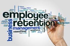 Het concept van de het woordwolk van het werknemersbehoud op grijze achtergrond royalty-vrije stock foto's
