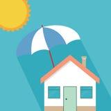 Het concept van de huisverzekering, de woonbescherming van huisonroerende goederen royalty-vrije illustratie