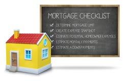 Het concept van de hypotheekcontrolelijst op bord met 3d Royalty-vrije Stock Fotografie