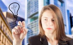 Het concept van de het ideebol van de bedrijfsvrouwentekening Stock Afbeeldingen