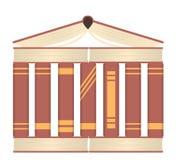 Het concept van de kennistempel Vectorenillustratie van boeken als tempel Royalty-vrije Stock Foto's