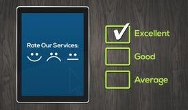 Het Concept van de klantendiensten met pictogrammen in tablet Royalty-vrije Stock Afbeeldingen