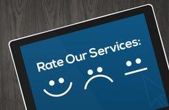 Het Concept van de klantendiensten met pictogrammen in tablet Royalty-vrije Stock Fotografie