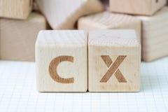 Het concept van de klantenervaring, kubeert houten blok met alfabet CX, royalty-vrije stock foto's