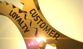 Het Concept van de klantenloyaliteit Gouden radertjetoestellen Stock Afbeeldingen