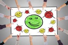 Het concept van de klantentevredenheid op een whiteboard stock foto's