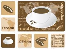 Het concept van de koffie helemaal over de wereld Stock Afbeelding